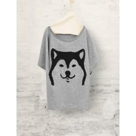 柴犬 ドルマンTシャツ (グレー)