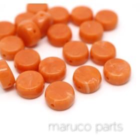 フラットラウンド 型*オレンジ*20個*両穴*べっ甲調ヴィンテージ風*平面*beads-177
