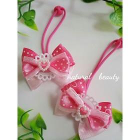 キッズ用☆ピンクのお花柄リボンのヘアゴム
