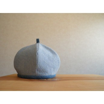 コットンリネンのベレー帽 水色と白のストライプ