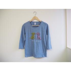 犬のTシャツ 7分袖 トイプードル 青