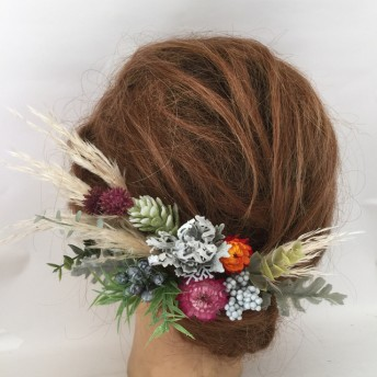 パンパスグラス髪飾り ドライフラワー髪飾り 成人式髪飾り ヘッドドレス