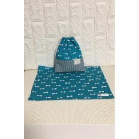 30×40ランチョンマットと巾着袋:1枚仕立て:リボン柄