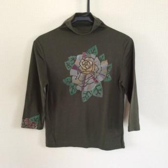 手描き染め Tシャツ 7分袖 モスグリーン