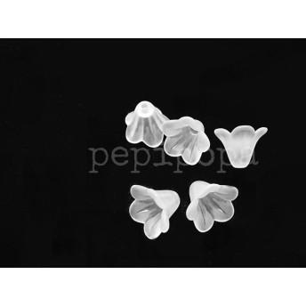 【再販】お値下げ!ボタニカル すりガラス風 アクリルパーツ ホワイトリリー 白百合 30個セット