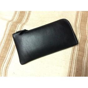 牛革良質ソフト素材Lファスナー長財布:ブラック