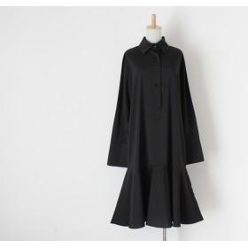 【送料無料】 Aラインシルエットの綺麗な シャツ生地 黒のワンピース