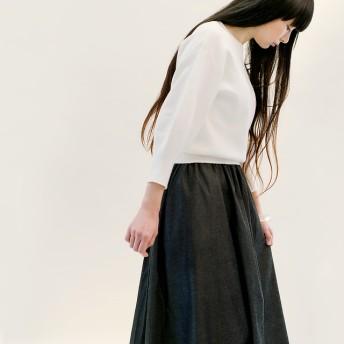 岡山デニム 黒 ロングスカート ブラック ジーンズ ●VIOLA●