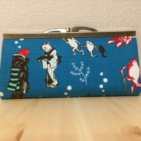 【T様受注分】鳥獣戯画風がま口長財布