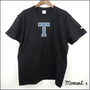 イニシャル(A~Z) インディゴアップリケ刺繍 Tシャツ S~L