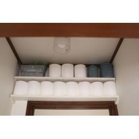 ドア上などの隙間収納棚(トイレットペーパーなど)2枚セット・サイズオーダー可