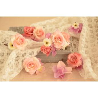上質ピンクローズ ヘッドパーツ 7点セット ヘッドドレス、ハーフ花冠にも