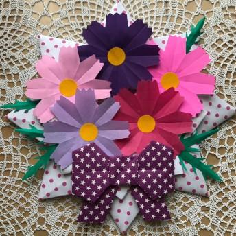 折り紙リース 秋 秋桜 コスモス 花束 ピンク パープル系 リボン 壁面飾り 施設 病院 保育園 紫色リボン