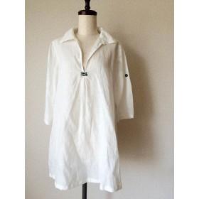 ロングシャツ 白リネン