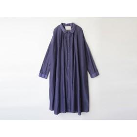コーンフラワーで染めた綿シルクのロングシャツワンピース c8411-04001-01