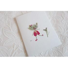 お散歩ベアちゃん 押し花ミニメッセージカード