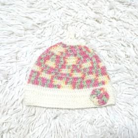 40~44㌢ どんぐり帽子 いちごぱふぇ×オフホワイト×お花