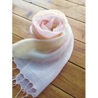 しなやかリネン*薄桜×淡黄色*ショール