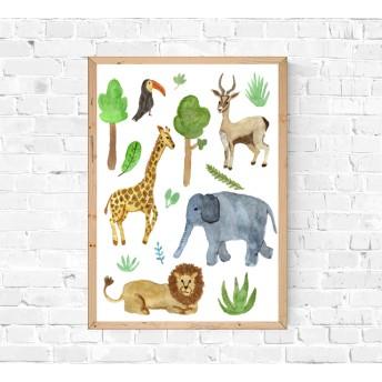 木々と動物たちインテリアポスター