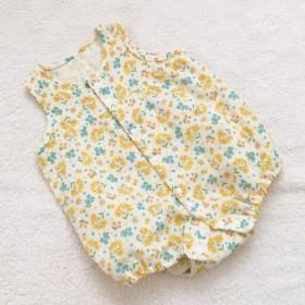 春夏生まれの赤ちゃんへ ミモザの花柄ロンパース