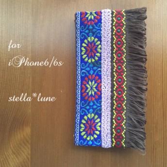 【iPhone6/6s】チェーンショルダー付*ボヘミアン調刺繍手帳型ケース