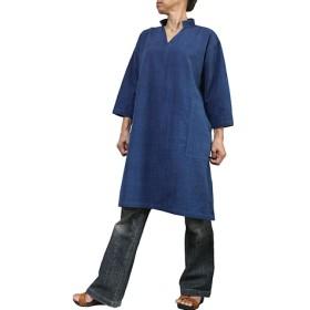 ジョムトン手織綿のスキッパーチュニック インディゴ(BFS-162-03)