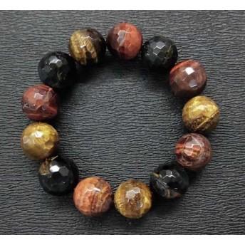 天然石 3色タイガーアイ13.5㎜カット玉ブレスレット 内周:約16.1cm 15062084