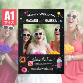 フォトフレームパネル【A1サイズ】フォトプロップス/ブラックボード風/黒板風/結婚式/wedding