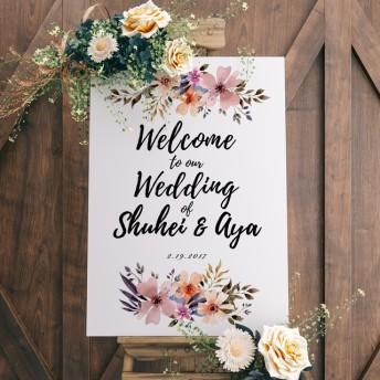 結婚 ウェルカムボード 日付 水彩 フラワー 花 海外風