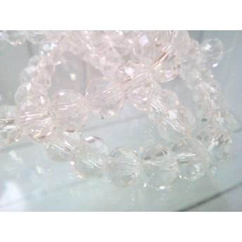 クリスタルガラスのボタン型ビーズ クリア 1連 S092-0