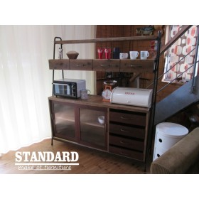 MIZUYAシェルフ(古材とアイアンを使ったアンティークスタイルなレンジボード )食器棚 レンジ台
