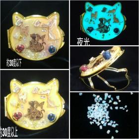 1個のみ/夜光&変温/猫型(高品質な本体)・本物のバラ・蝶・京都オパール/両面コンパクトミラー