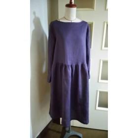柔らかリネン(紫)の長袖ワンピース