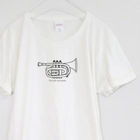 ポケットトランペットのTシャツ【バニラホワイト】 ユニセックス 半袖クルーネックTシャツ