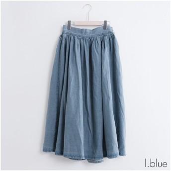 fillil フィリル サイドボタン デニムギャザースカート