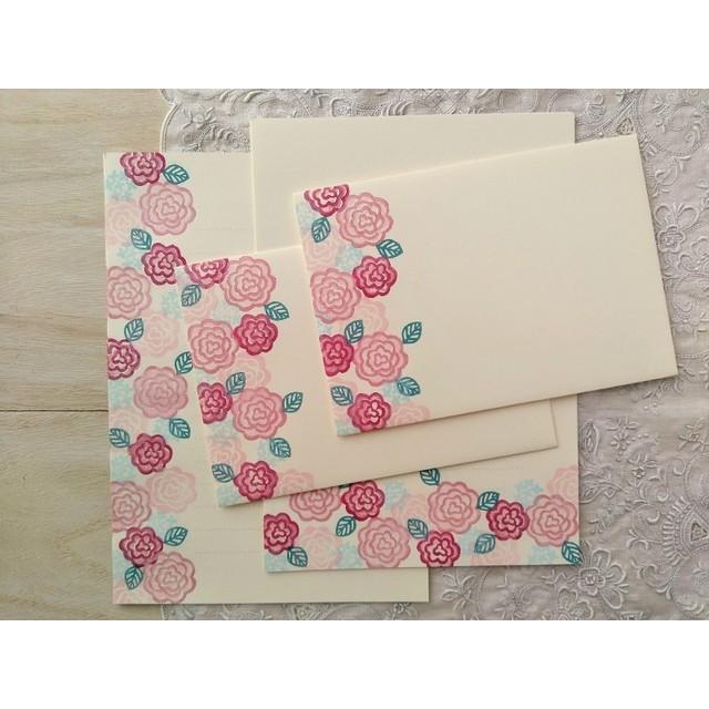 消しゴム版画「レターセット(バラの花)」