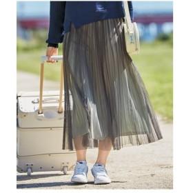 スカート ロング丈 マキシ丈 大きいサイズ レディース チュールプリーツ  L〜10L ニッセン