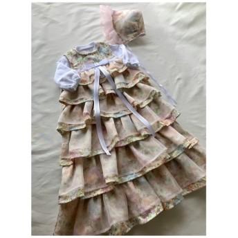 ベビー服 セレモニー ベビードレス ダブルガーゼユニコーンプリント ×オーガンジー(クリーム×薄ピンク)