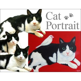 猫の似顔絵 - 猫と白い文鳥 F6号 キャンバス【キャンセルOK】【オーダー】手描き #猫の似顔絵#白文鳥の絵#仲よしの猫と鳥#絵画#art#通販#ねこ