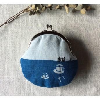 藍染め がま口 「お菓子とコーヒと小さな子猫」