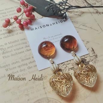 09 Marble brown × heart motif. (イヤリング/ピアス)