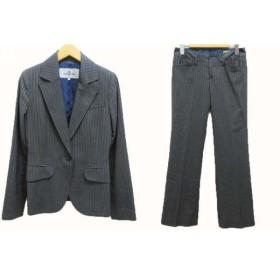 【中古】ビアッジョブルー Viaggio Blu スーツ ジャケット テーラード 1ボタン 総裏 パンツ センタープレス ストレッチ ストライプ グレー 0 1 レディース