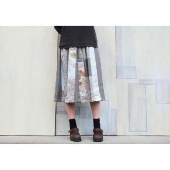 着物リメイクギャザースカート色花の縦パッチ