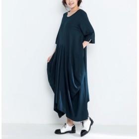 コットンニットゆったりロングワンピース・ドレス