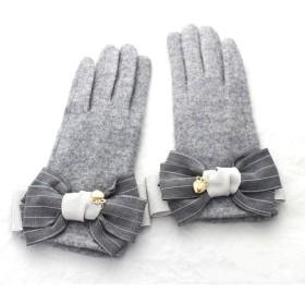 再販6 グレー ストライプりぼん手袋 グローブ リボン