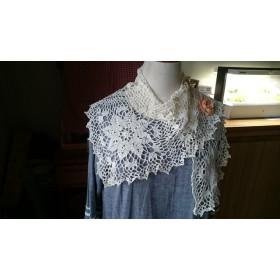 L字型大きいモチーフ編みストール*レース糸