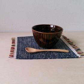 手織りミニマット 紺