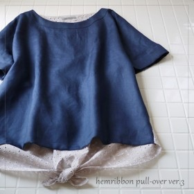 再販 ボートネック裾リボンプルオーバー ver.3