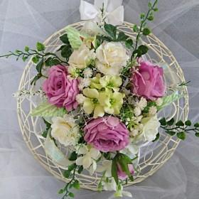 薄紫&白い薔薇の壁掛け