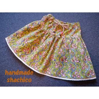 【送料無料】再販♪インド綿ティアードスカート90size